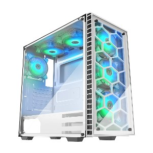 MUSETEX 903N6W - Best PC Cases Under 100: Tempered Glass Panels