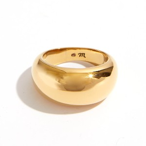 Madewell Dome Ring - Best Rings for Fat Fingers: Shiny Gold-Plated Brass Ring