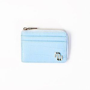 Maje EMBOSSED LEATHER ZIP-UP CARD HOLDER - Best Wallet for Women: Wallet with crocodile-effect embossed leather
