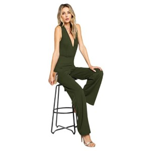 MakeMeChic Women's Sexy Deep V Neck Jumpsuits - Best Jumpsuits for Petites: Classy sexy look