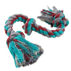 Mammoth Cottonblend 3 Knot Dog Rope Toy - Best Dog Toys for Pit Bulls: Strong Rope Toy