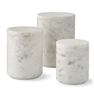 Williams Sonoma Marble  - Best Canister Sets for Kitchen: Hand Carved and Polished Natural White Marble