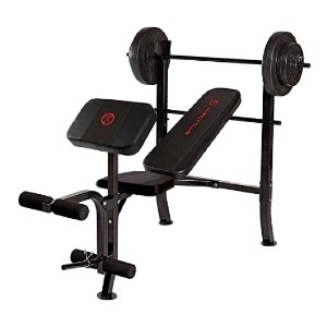 Marcy Standard Weight Bench with 80 lbs Vinyl-Coated Weight Set - Best Barbell for Bench Press: A complete package