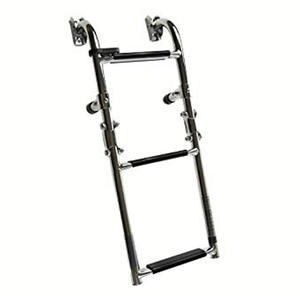 Marine City 1+2 Steps Foldable Boarding Ladder - Best Boat Ladders: Quickly Fold it While Not in Use