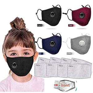 Massimiliano Incas Bandanas Cotton with Breathing valve - Best Masks for Kids: Cotton Mask with Breathing Valve and Replaceable Filters Haze