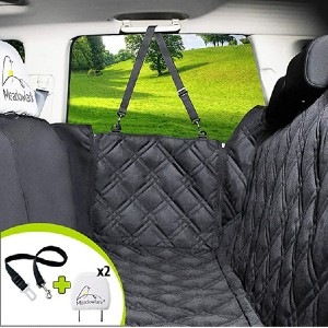 Meadowlark Dog Seat Covers & Full Car Protection - Best Car Door Protector for Dogs: Adjustable middle zipper