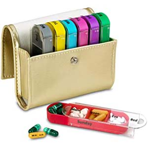 MEDca Weekly Travel Pill Organizer - Best Pill Dispensers for Seniors: Keep it neat with a luxurious pouch