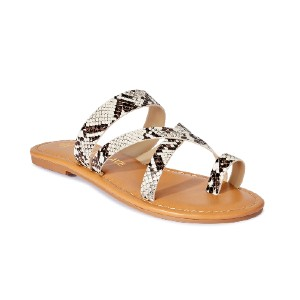 Melrose Ave Vegan Leather Toe Loop Strappy Flat Sandal - Best Leather Sandals: Toe Loop Sandal