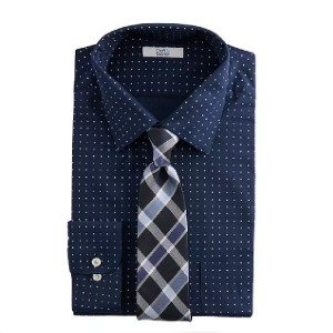 Croft & Barrow Classic-Fit Spread-Collar Dress Shirt & Tie Set - Best Ties for Checkered Shirts: Take the guesswork away