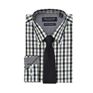 Nick Graham Everywhere Modern-Fit Stretch Dress Shirt & Tie Set - Best Ties for Checkered Shirts: Best low-budget set
