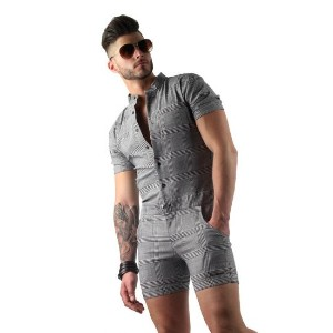 Glimms Mens Plaid Romper in Grey - Best Men's Romper: Plenty of stretches