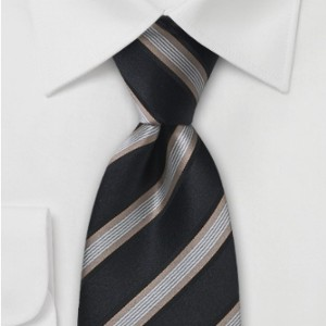 Bows-N-Ties Mens Striped Tie in Black and Gold - Best Ties for Black Suits: Complete your overall look