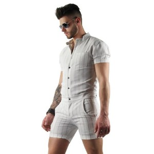 Glimms Mens White Romper with Vertical Stripes - Best Men's Romper: Best casual look