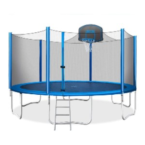 Merax 15 FT Trampoline with Safety Enclosure Net - Best Trampoline with Basketball Hoop: Extra-thick-enclosure pole