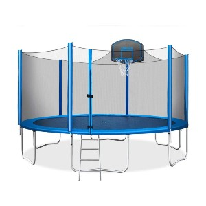 Merax 15 FT Trampoline with Safety Enclosure Net - Best Trampoline Backyard: Helpful four-step ladder