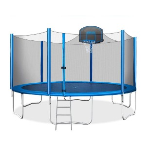 Merax 15 FT Trampoline with Safety Enclosure Net - Best Home Trampoline for Adults: Super helpful ladder