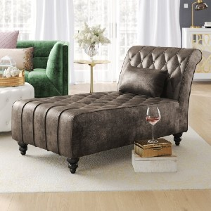 Mercer41 Andrews Chaise Lounge - Best Chaise Lounge Chairs: Luxurious Velvet Chaise Lounge