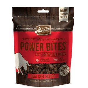 Merrick Power Bites Real Texas Beef Recipe Grain-Free Soft & Chewy Dog Treats - Best Dog Treats for Sensitive Stomachs: Real Deboned Meat