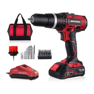 Meterk  20V MAX Cordless Drill - Best Drill for Home Use: Single Sleeve Ratcheting Chuck