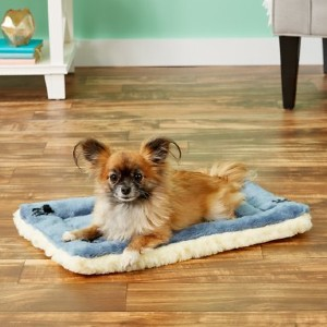 Midwest Quiet Time Fleece Reversible Dog Crate Mat, Blue Paw Print - Best Dog Beds for Puppies: Two Cover Constructions Bed