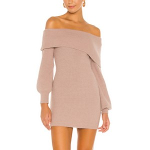 Lovers + Friends Mini Off Shoulder Knit Dress  - Best Knit Dresses: Not sweaty nor itchy