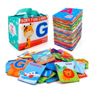 Mini Tudou 26 PCS Baby Soft Alphabet Cards - Best Flashcards for 2 Year Olds: Withstand countless washing