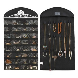 MISSLO Jewelry Hanging Non-Woven Organizer  - Best Wall Mounted Jewelry Organizer: Dual-Sides Organizer