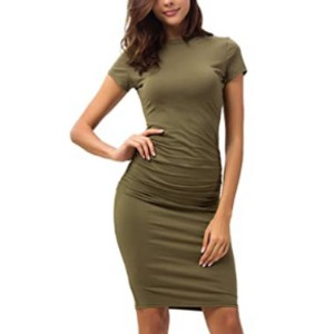 Missufe Women's Ruched Casual Sundress Midi Bodycon  - Best Bodycon Dresses: Extremely comfy