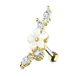 MoBody Mother of Pearl Flower Tragus Earring - Best Jewelry for Helix Piercing: For flower and diamond lovers