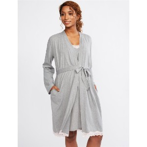 Motherhood LACE TRIM NURSING NIGHTGOWN AND ROBE SET - Best Robes for New Mom: Lace Trim Robe