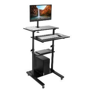 Mount-It! Mobile Stand Up Desk  - Best Standing Desk with Wheels: Fully Portable Standing Desk