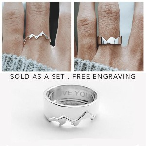 JewelryRB Mountain Matching His and Her Promise Rings - Best Couple Rings for Engagement: For mountain enthusiasts
