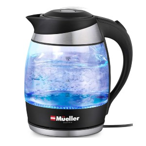Mueller Premium 1500W Electric Kettle with SpeedBoil Tech - Best Electric Tea Kettle: Electric Glass Kettle with Light Indicator