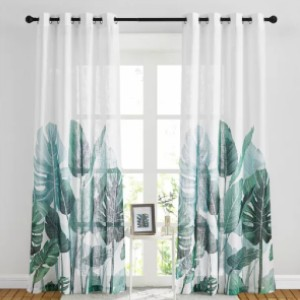NICETOWN Palm Leaves Printed Pattern Linen Textured Sheer Curtain - Best Curtains for Living Room: Natural Leave Pattern Curtain