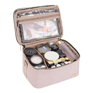 NISHEL Double Layer Travel Makeup Bag with Strap - Best Makeup Case Organizer: Soft and Lightweight Material