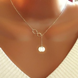 NLLucky Personalized Lariat Necklace With Infinity And Initial Discs Charm - Best Necklace for Mom: Elegant Personalized Necklace