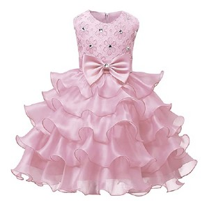 NNJXD Girl Dress Kids Ruffles Lace Party Dresses  - Best Party Wear Dress for Baby Girl: Gorgeous cake-style design