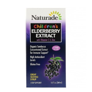 Naturade Children's Elderberry Extract Syrup with Vitamin C & Zinc - Best Elderberry Syrup for Kids: Gluten-Free with No Added Sugar