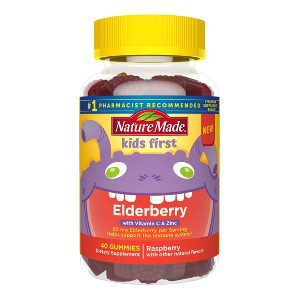 Nature Made Kids First Elderberry Gummies with Vitamin C and Zinc - Best Elderberry Gummies for Kids: Delicious Raspberry Flavor