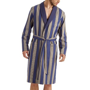 Hanro Men's Night & Day Striped Cotton Robe - Best Robes for Men: Fashionable Striped Robe