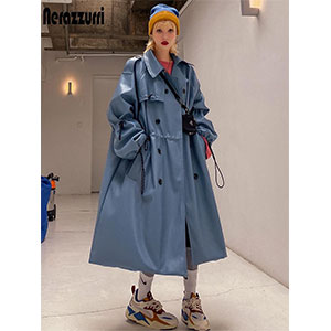 Nerazzurri  Oversized blue long leather trench coat - Best Raincoats for College Students: Oversized Leather Trench Coat