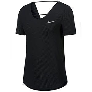 Nike Women's Summer Breathe Short Sleeve - Best Women's Running Shirts: The strappy details at the back running shirt