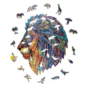 MindnessGames Noble Lion - Best Wooden Jigsaw Puzzles for Adults: Gorgeous Colors and Details