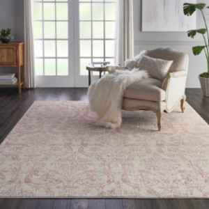 Nourison Jubilant White and Pink - Best Rugs for Dining Rooms: Easy Spot Cleaning and Maintenance