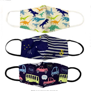 ORLY Kids 3 Pack of Washable and Reusable Breathable Cotton 2 Layer Face Mask with Adjustable Straps - Best Masks for Kids: Mask with Adjustable Straps