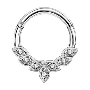 OUFER Earrings Hoop Cluster CZ - Best Jewelry for Daith Piercing: Ideal for long hours use