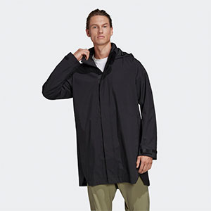 ADIDAS OUTERIOR RAIN - Best Rain Jackets For Europe: Packable Hood and Long Length Rain Jacket