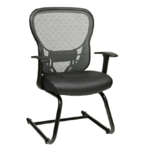 Office Star Products Deluxe R2 Spacegrid Back Visitors Chair With Fixed Arms - Best Office Chair Without Wheels: Adjustable Lumbar Support