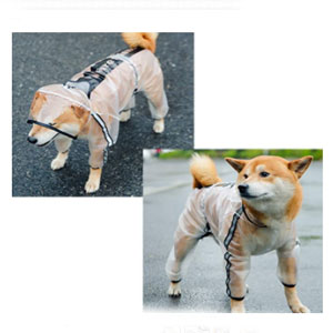 Olsa 4 Legs Dog Rain Jacket with Reflective Stripe - Best Raincoats for Dogs: 4 Legs Covered Design Raincoat