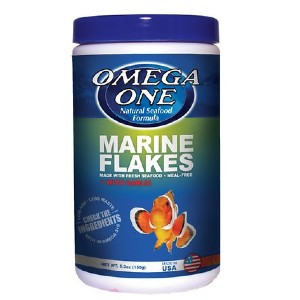 Omega One Marine Flakes with Garlic Fish Food - Best Food for Clownfish: Rich in Nutrients